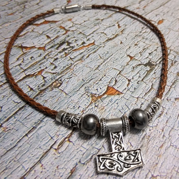www.SaberShores.com Other - 3/$100 Mjolnir FAUX Leather THORS HAMMER Necklace